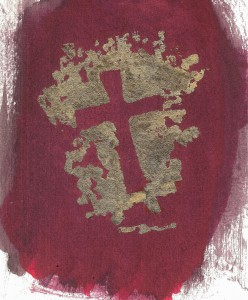 Burgandy Gold cross